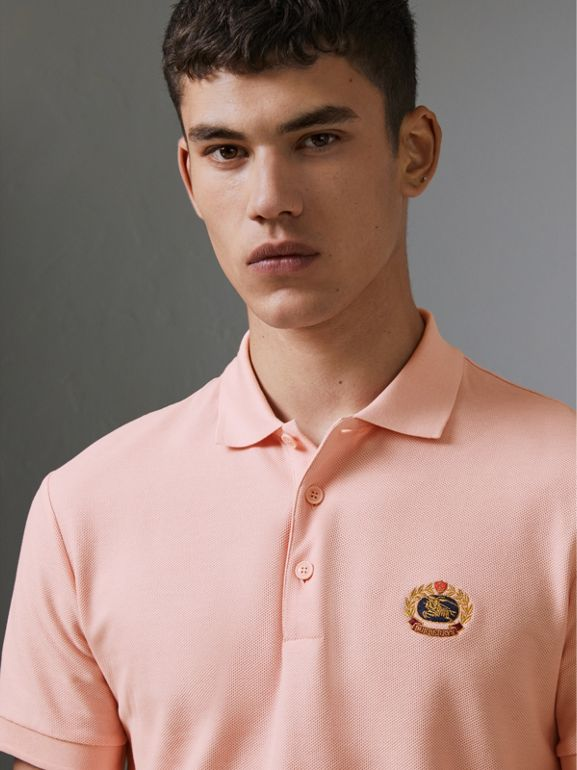 Archive Logo Cotton Piqué Polo Shirt in Pale Pink - Men | Burberry - cell image 1