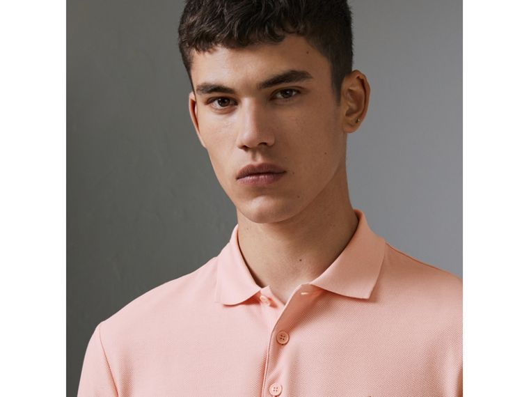 Archive Logo Cotton Piqué Polo Shirt in Pale Pink - Men | Burberry United States - cell image 1