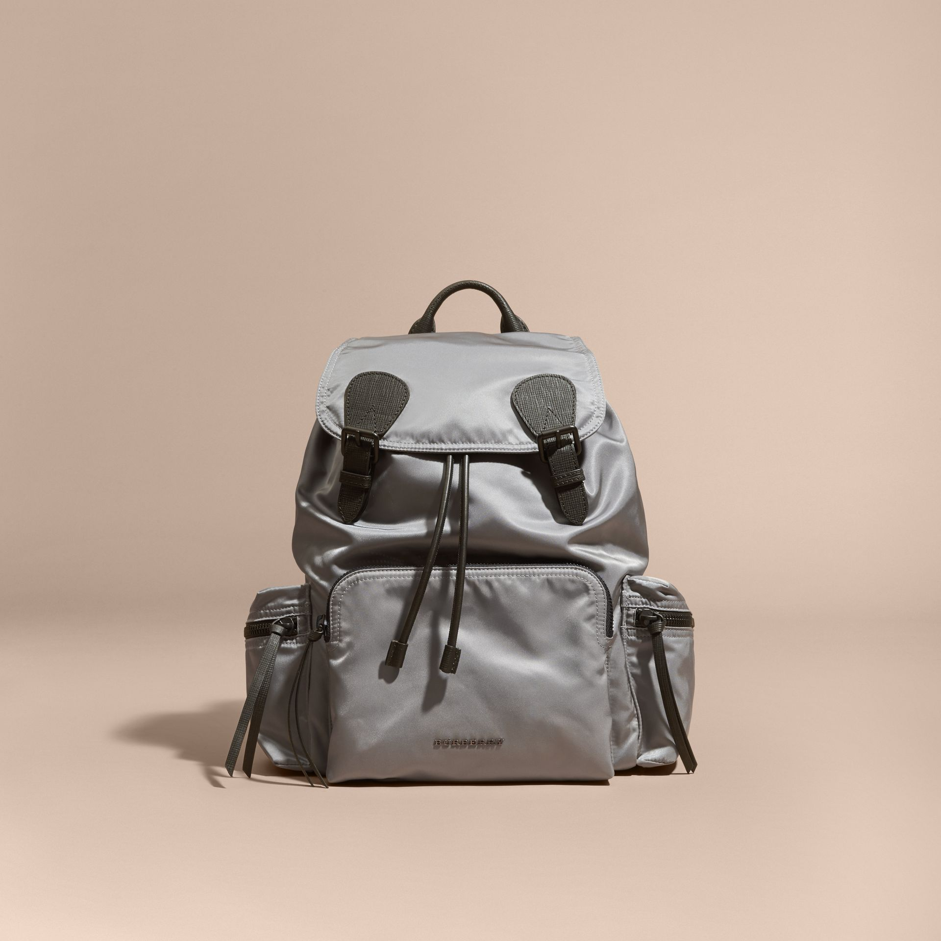 The Large Rucksack in Technical Nylon and Leather Thistle Grey - gallery image 9