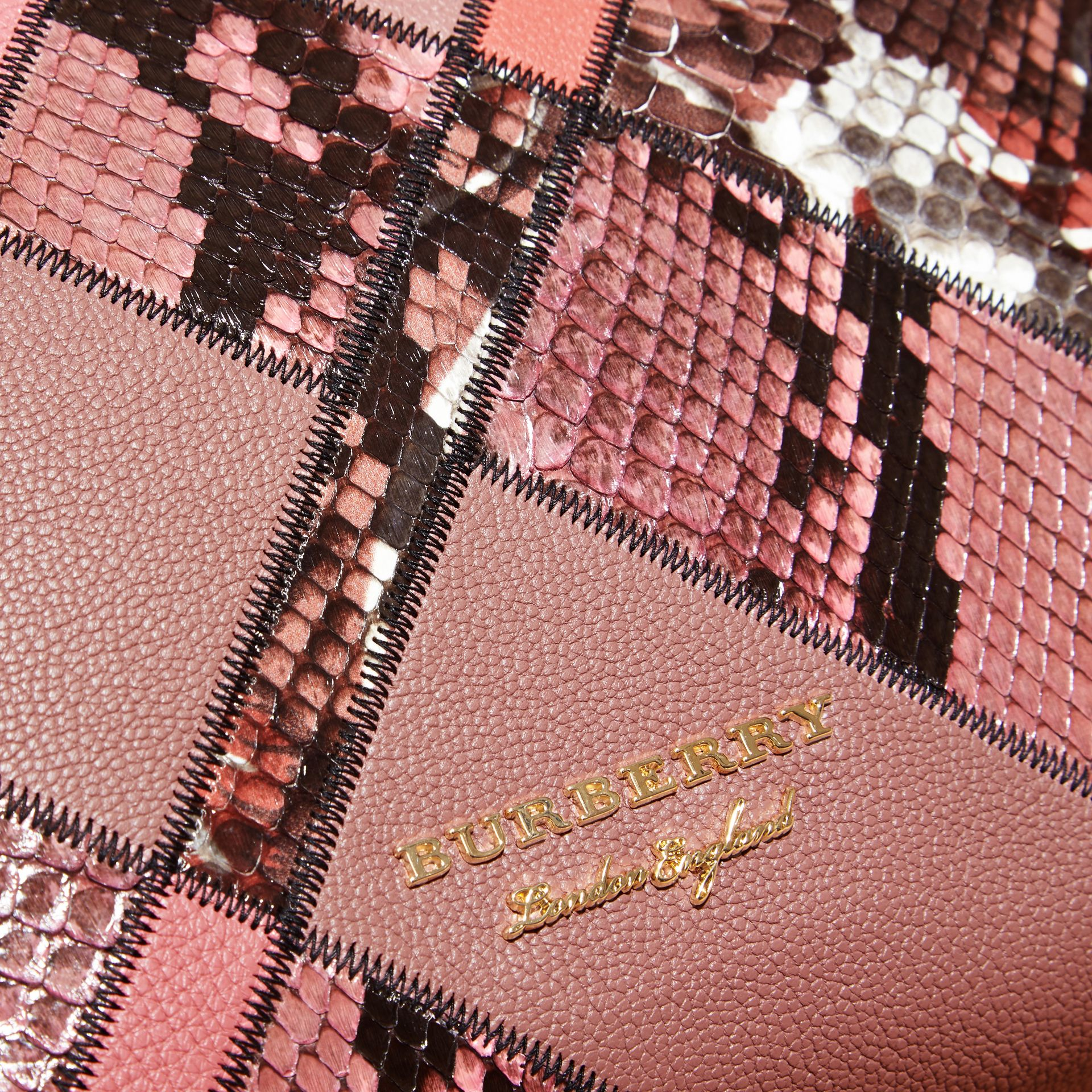 The Medium Banner in Patchwork Leather and Python in Dusty Pink - Women | Burberry - gallery image 2