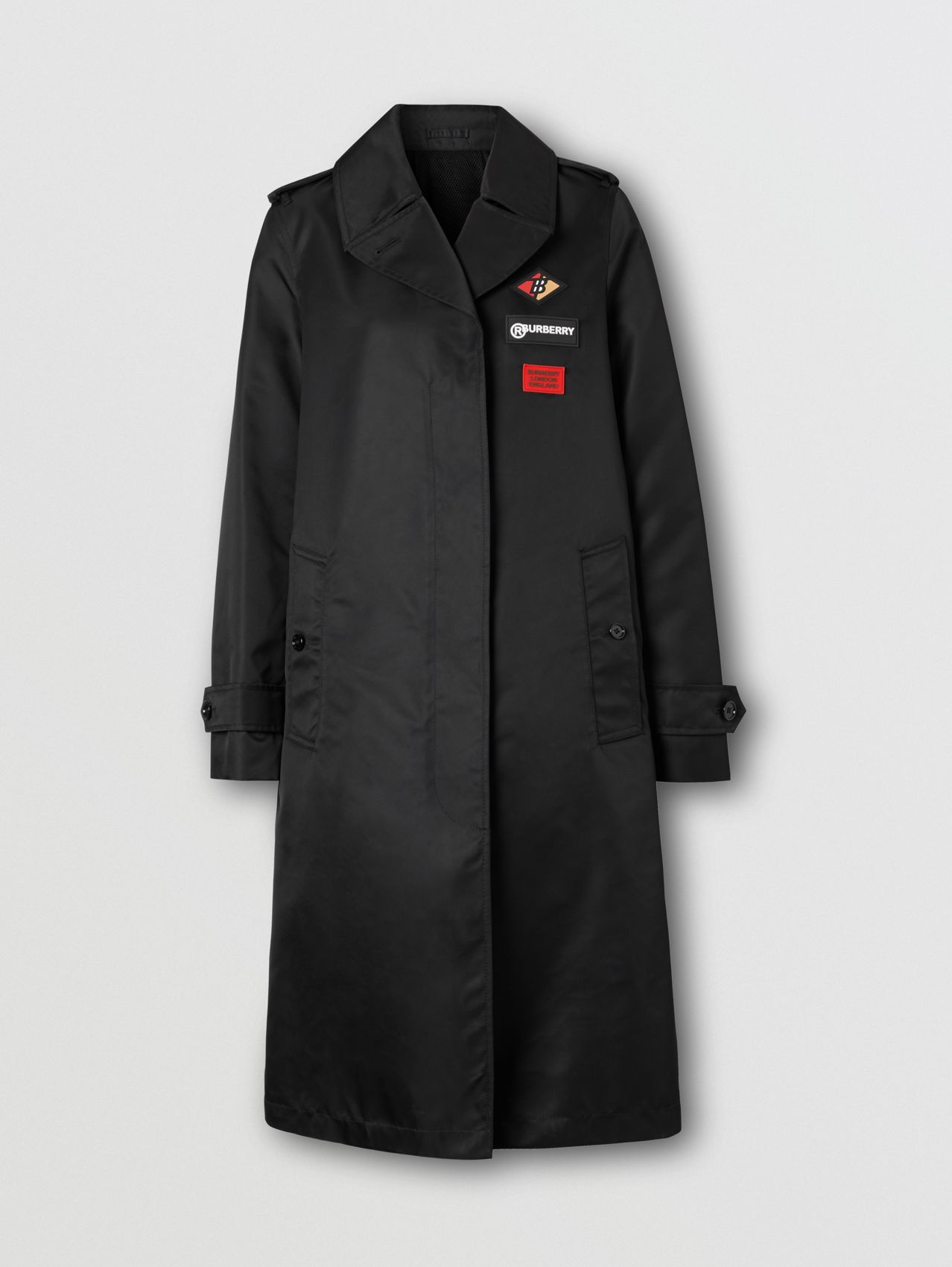 Logo Graphic Nylon Car Coat in Black