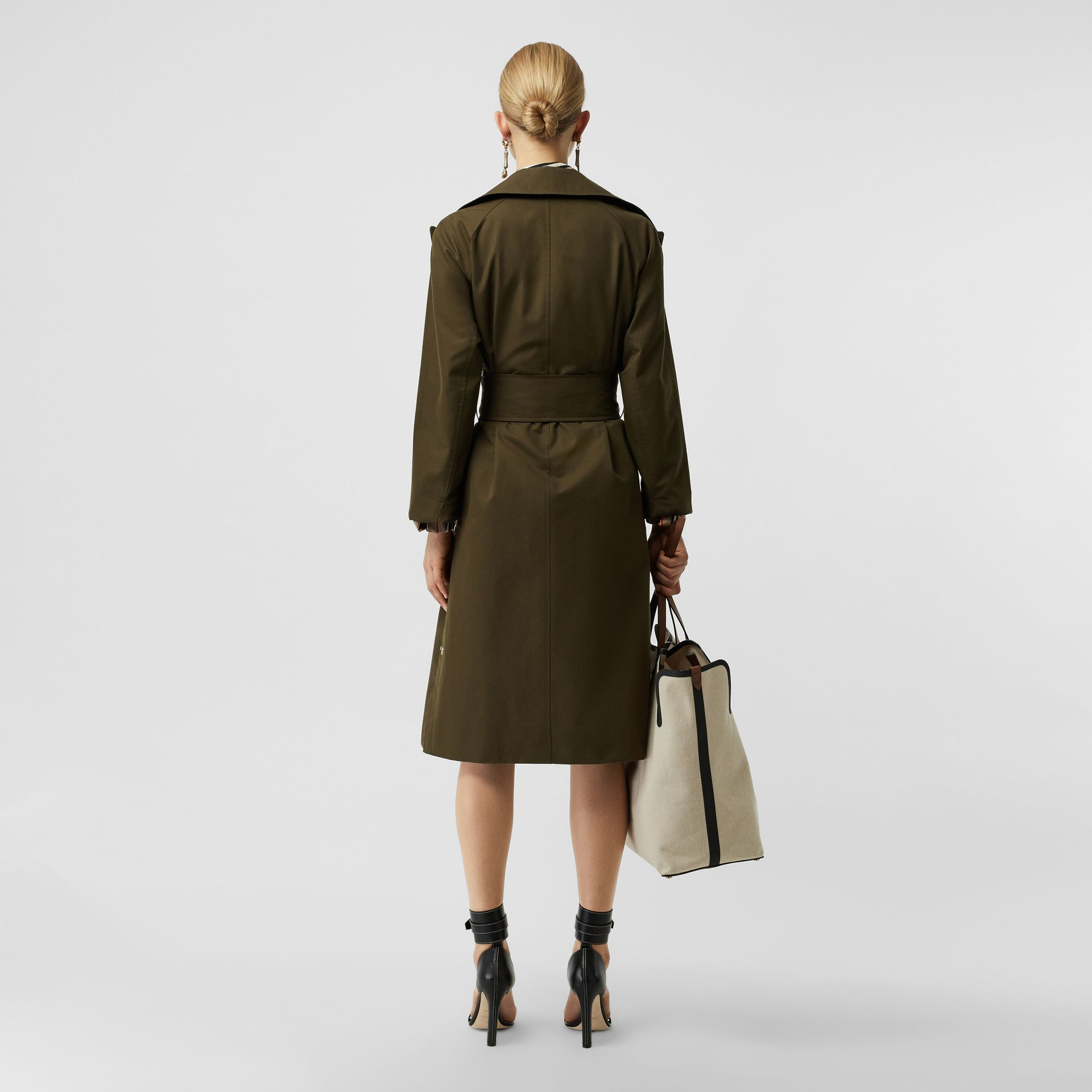 Side-slit Cotton Gabardine Belted Coat in Dark Military Khaki - Women | Burberry - gallery image 2