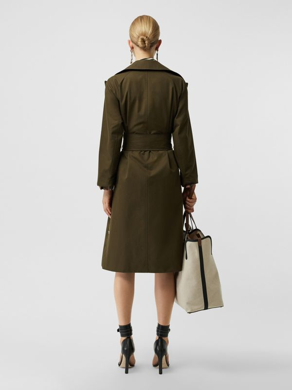 Side-slit Cotton Gabardine Belted Coat in Dark Military Khaki - Women | Burberry - cell image 2