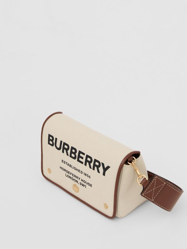 Small Horseferry Print Cotton Canvas Crossbody Bag in White/tan | Burberry - cell image 3