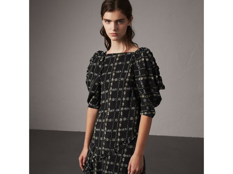 Ruffle Detail Floral Silk Dress in Black - Women | Burberry - cell image 4