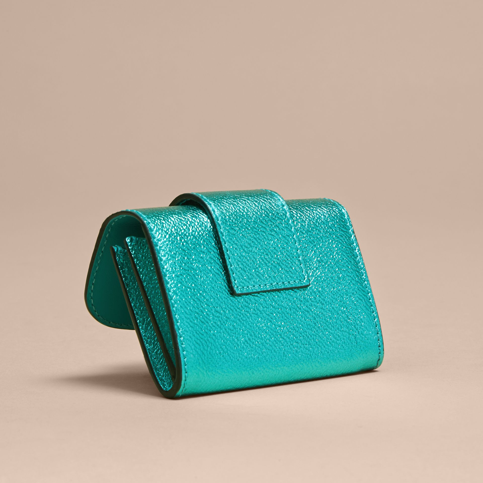 Metallic Leather Card Case in Emerald - gallery image 4