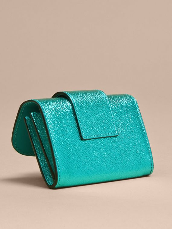 Metallic Leather Card Case in Emerald - cell image 3
