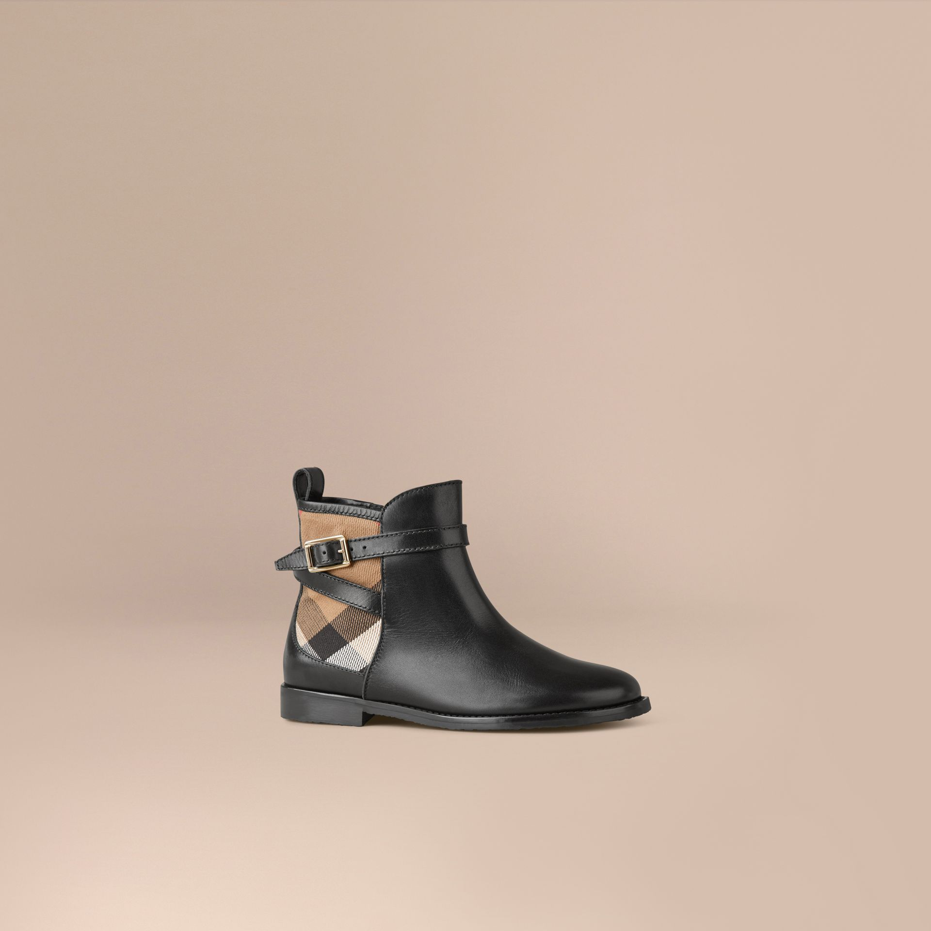 House Check Panel Leather Ankle Boots in Black - Girl | Burberry - gallery image 1