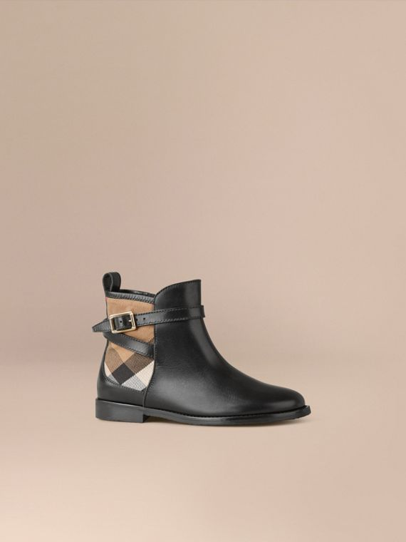 House Check Panel Leather Ankle Boots in Black
