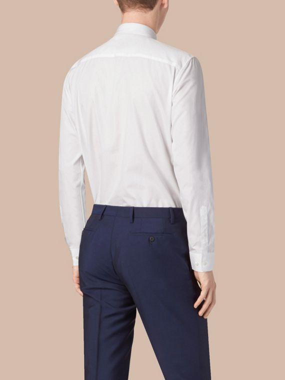 Modern Fit Cotton Poplin Shirt in White - cell image 2