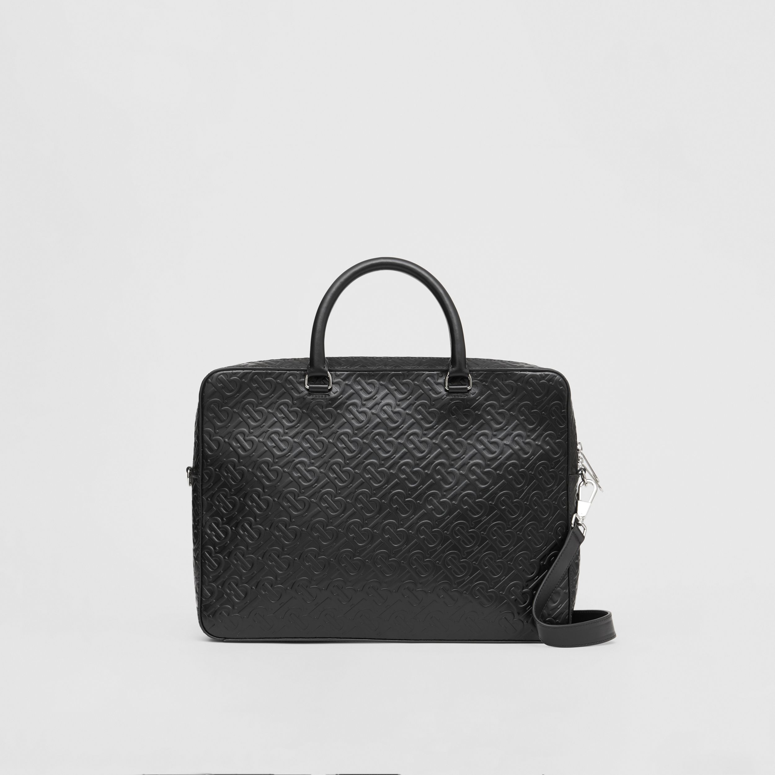 Monogram Leather Briefcase in Black - Men | Burberry - 1