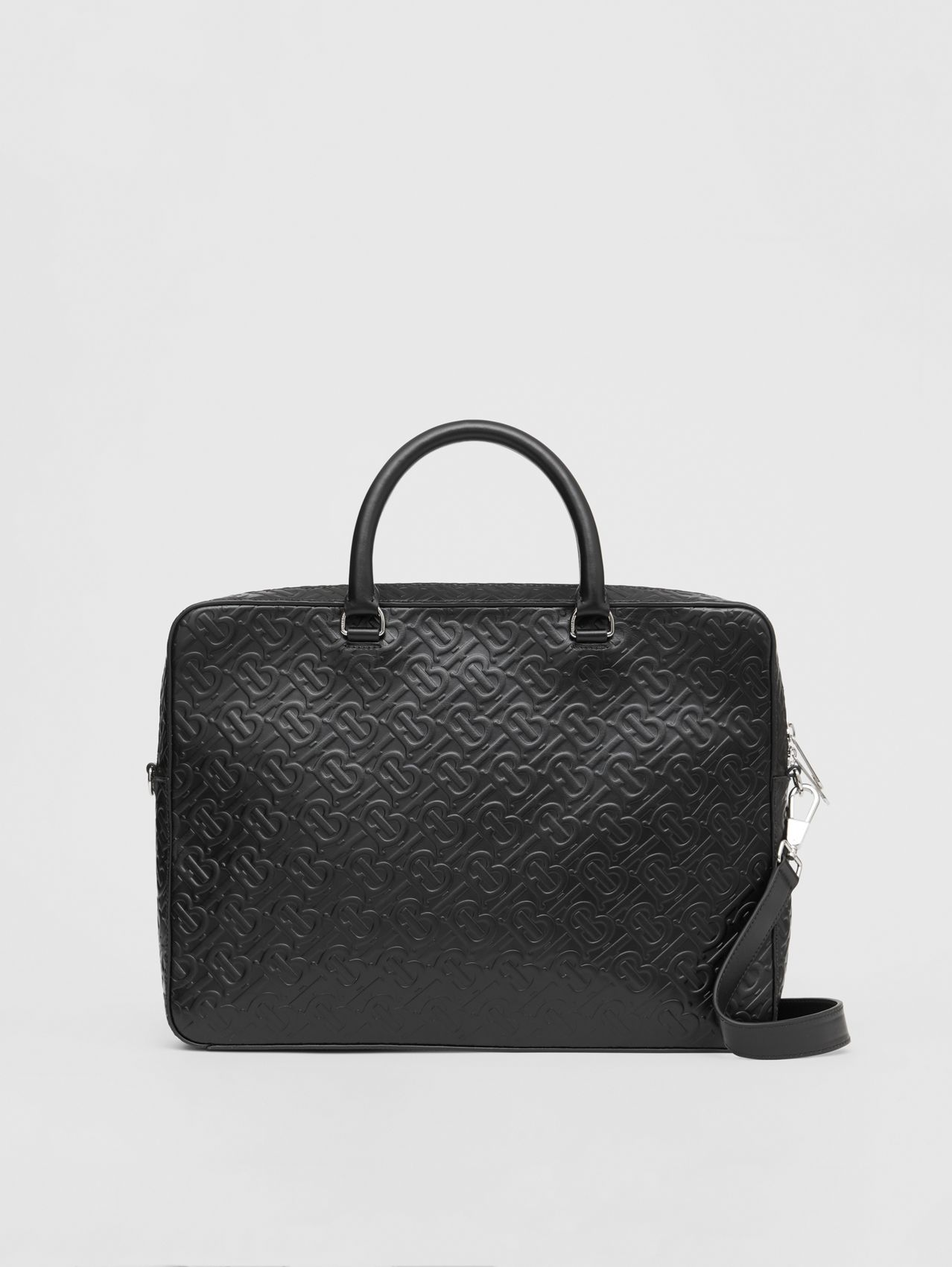 Monogram Leather Briefcase in Black