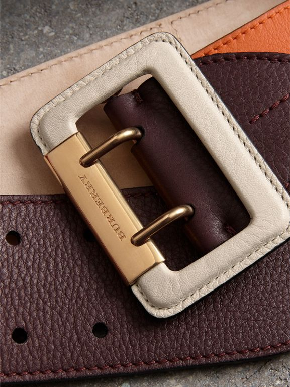 Colour Block Grainy Leather Belt in Deep Claret/clementine - Women | Burberry Canada - cell image 1