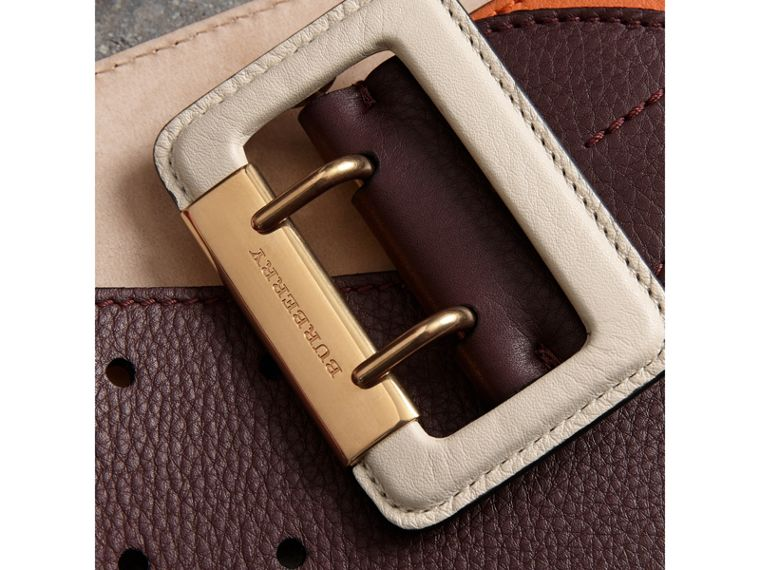 Colour Block Grainy Leather Belt in Deep Claret/clementine - Women | Burberry United Kingdom - cell image 1