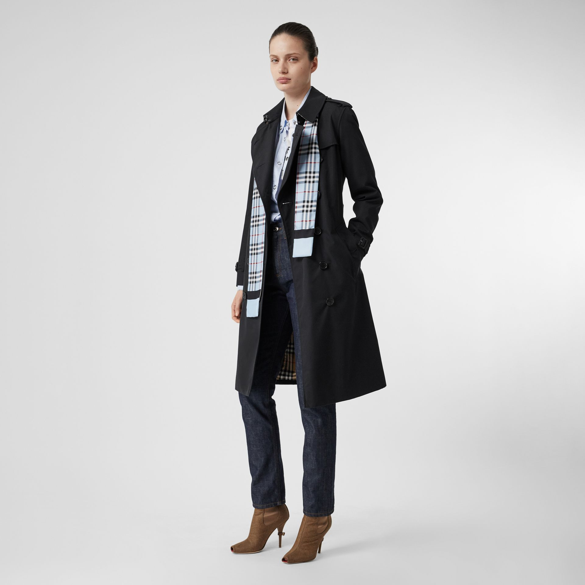 Vintage Check and Link Print Silk Skinny Scarf in Pale Blue | Burberry Singapore - gallery image 5
