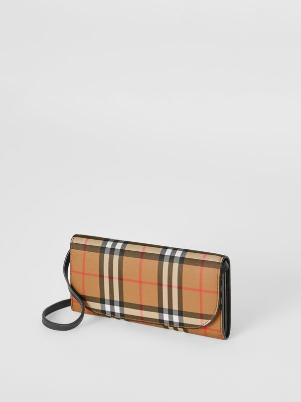 Detachable Strap Vintage Check Leather Wallet in Black - Women | Burberry Hong Kong - cell image 3