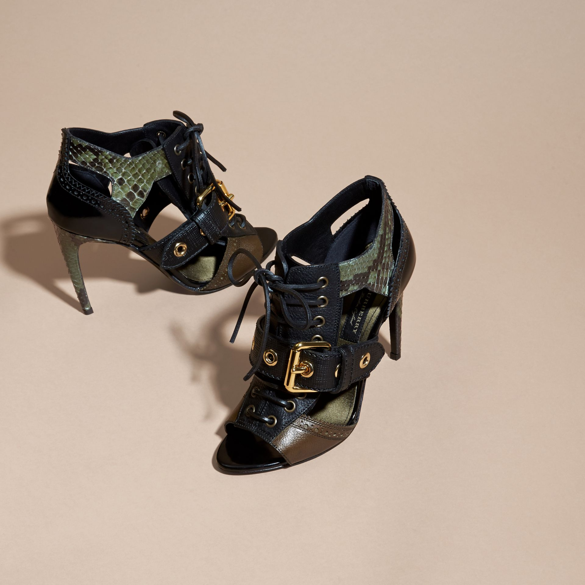 Military olive Buckle Detail Leather and Snakeskin Cut-out Ankle Boots Military Olive - gallery image 3