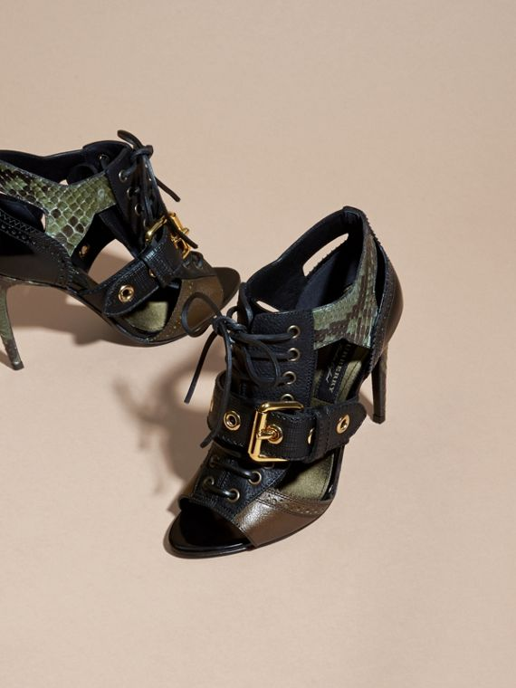 Buckle Detail Leather and Snakeskin Cut-out Ankle Boots in Military Olive - cell image 2