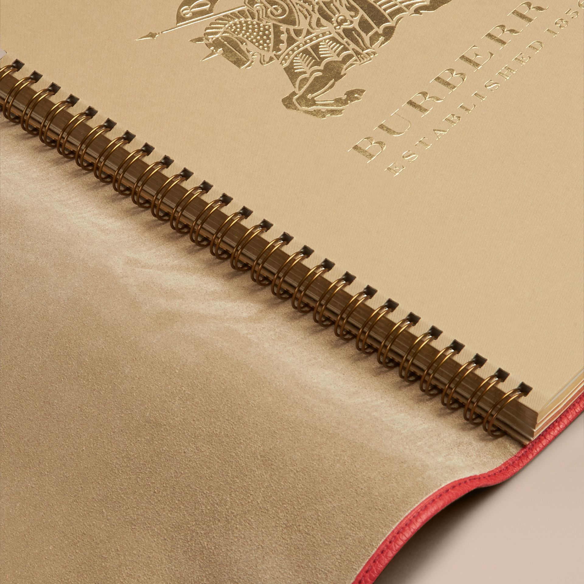 Grainy Leather A4 Notebook in Orange Red | Burberry - gallery image 3