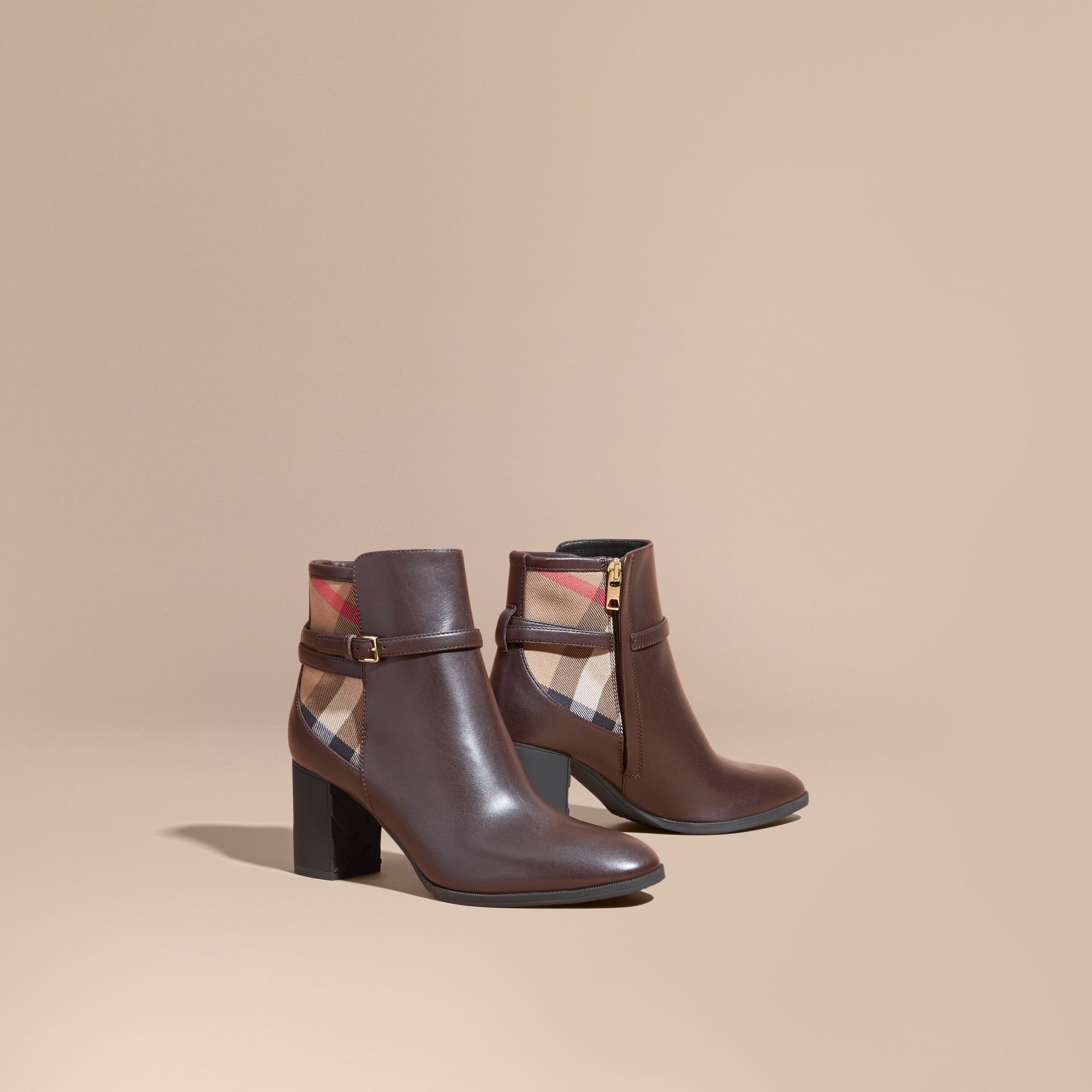 Noisette Bottines en cuir et coton House check Noisette - photo de la galerie 1