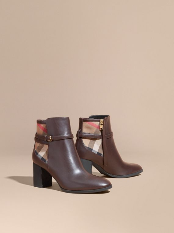 House Check and Leather Ankle Boots Chestnut