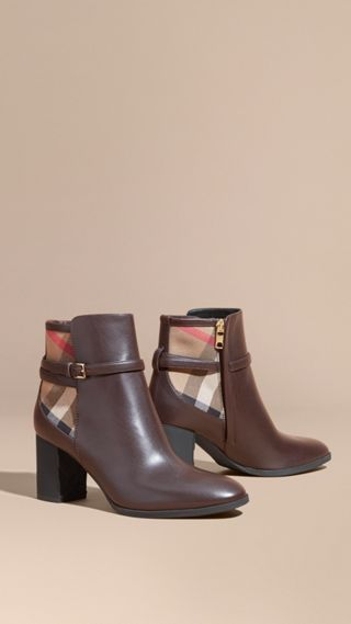 House Check and Leather Ankle Boots