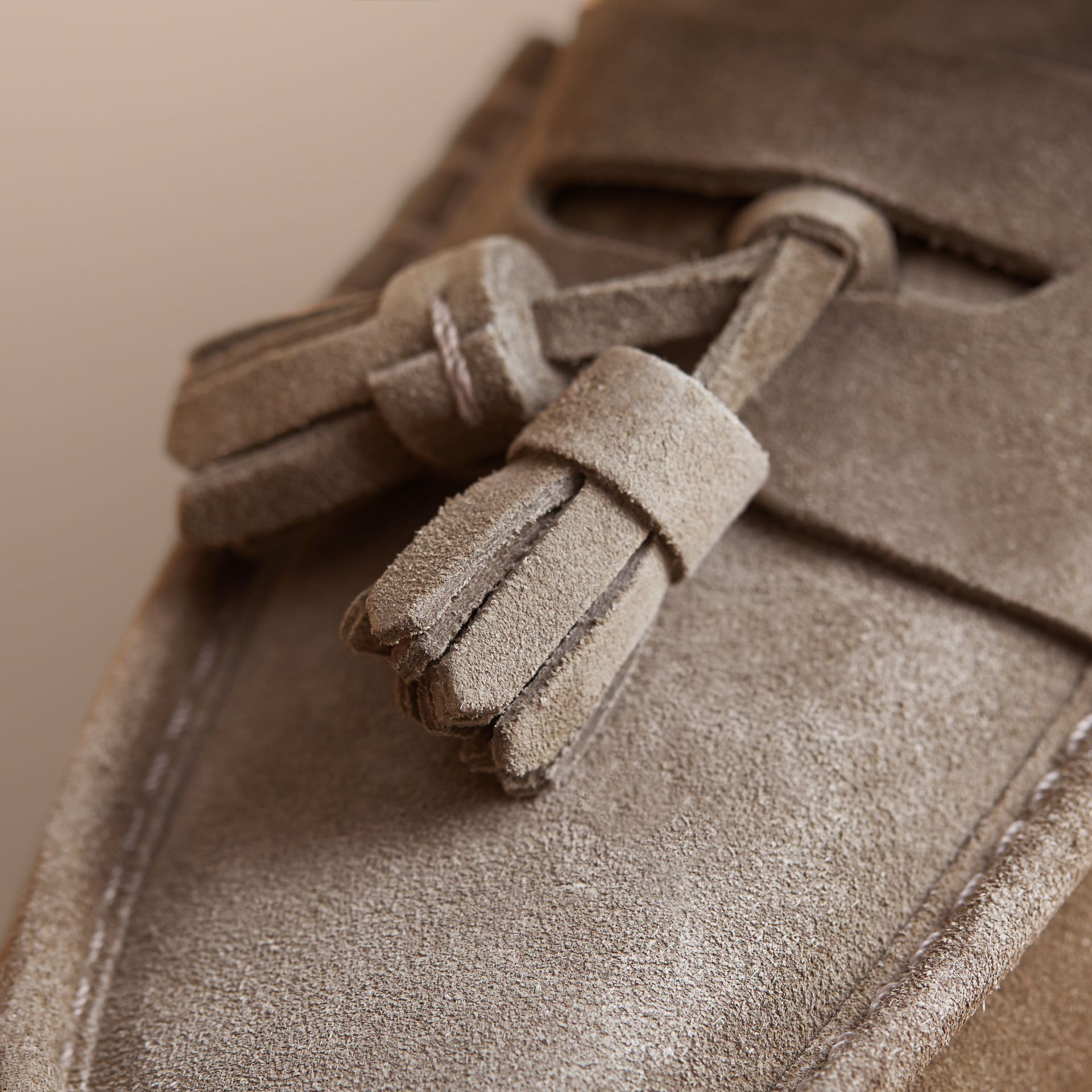 Tasselled Suede Espadrille Loafers in Light Taupe Brown - gallery image 2