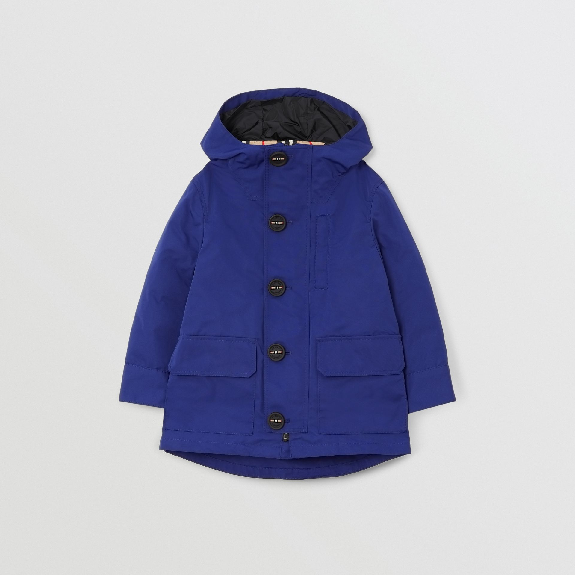 Hooded Coat with Detachable Icon Stripe Puffer in Bright Navy | Burberry Australia - gallery image 0