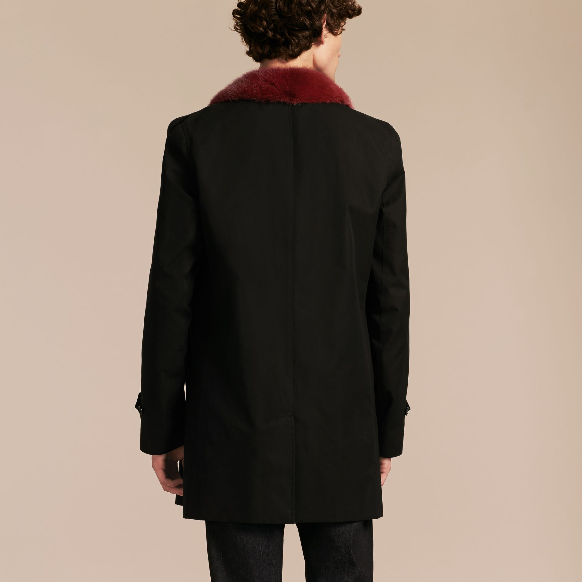 Black Cotton Car Coat with Detachable Mink Collar and Warmer - gallery image 3