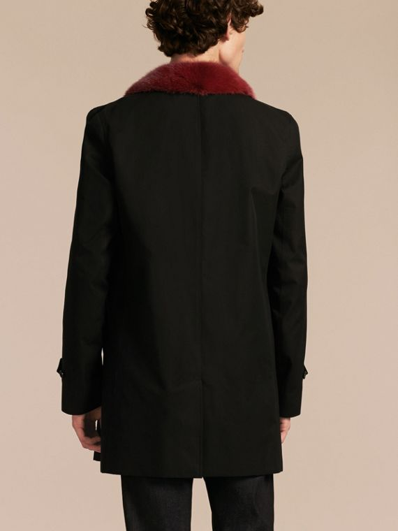Black Cotton Car Coat with Detachable Mink Collar and Warmer - cell image 2
