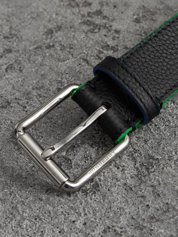 Contrast Detail Leather Belt in Black - Men | Burberry - cell image 1
