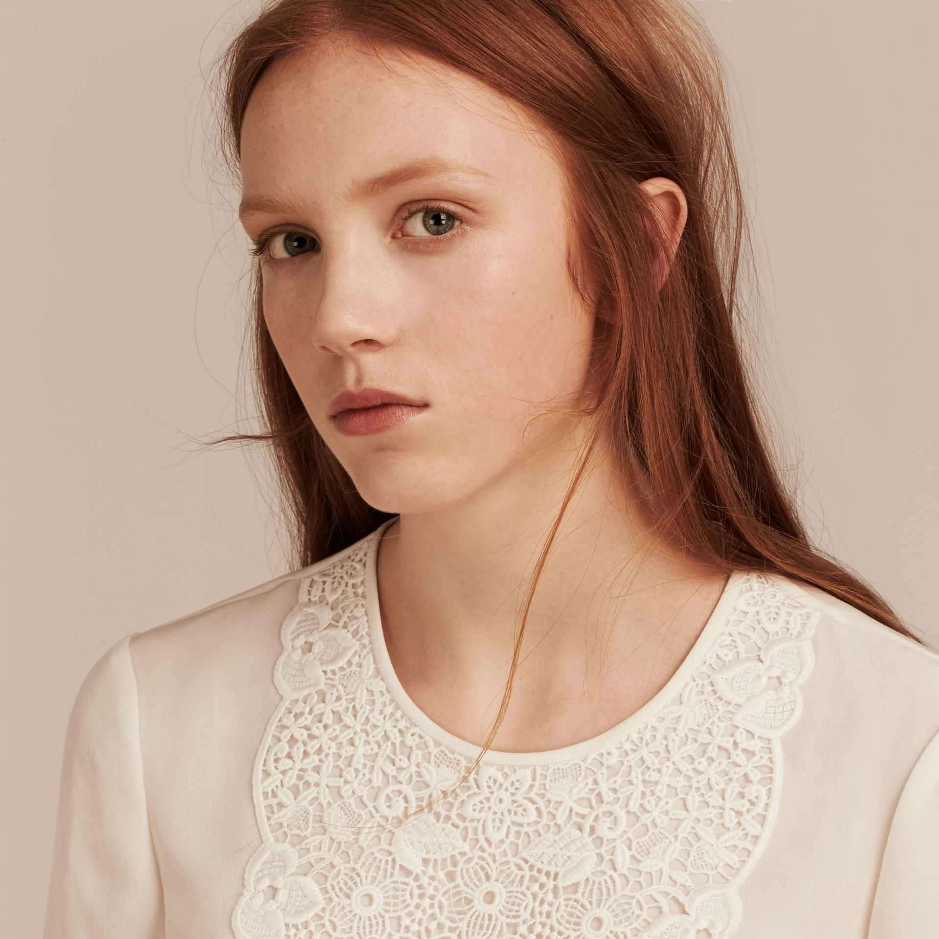 White Lace Panel Silk Top White - gallery image 5