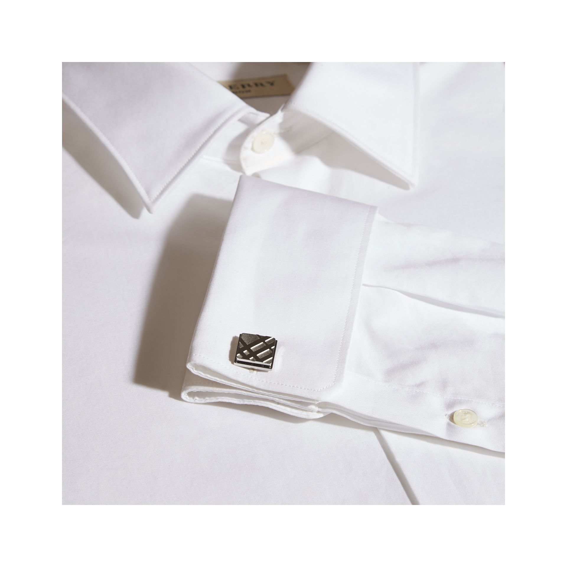 Check-engraved Square Cufflinks in Silver - Men | Burberry Singapore - gallery image 2