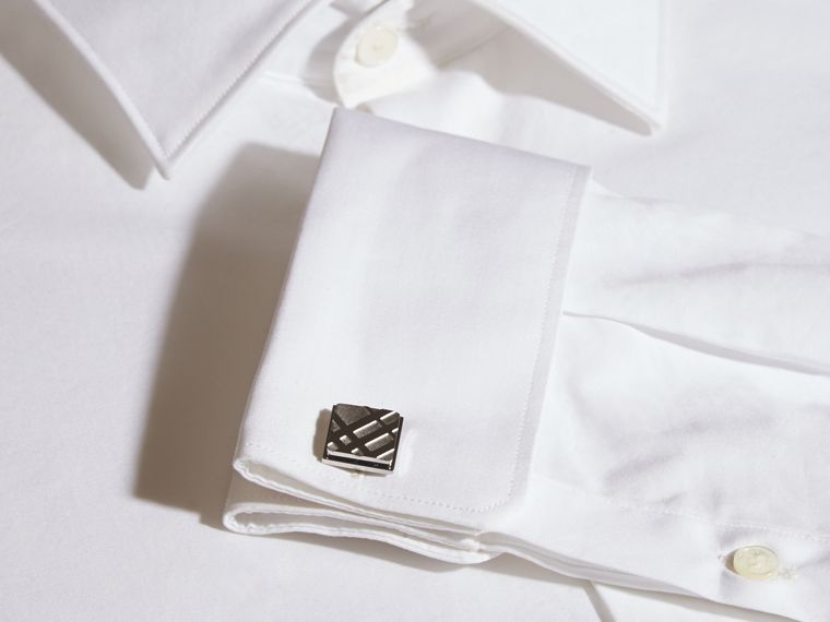 Check-engraved Square Cufflinks in Silver - Men | Burberry Hong Kong - cell image 1