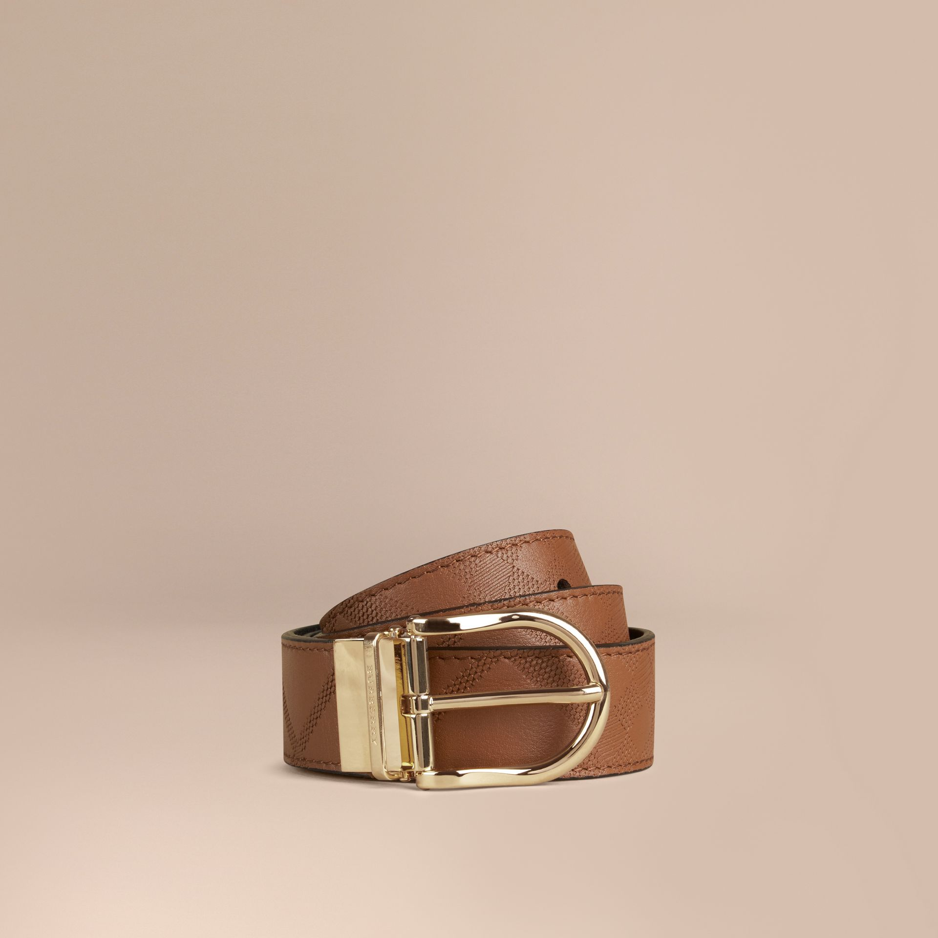 Tan Reversible Check Embossed Leather Belt - gallery image 1
