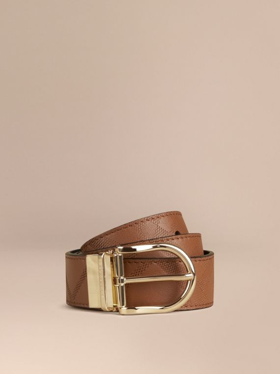 Reversible Check Embossed Leather Belt