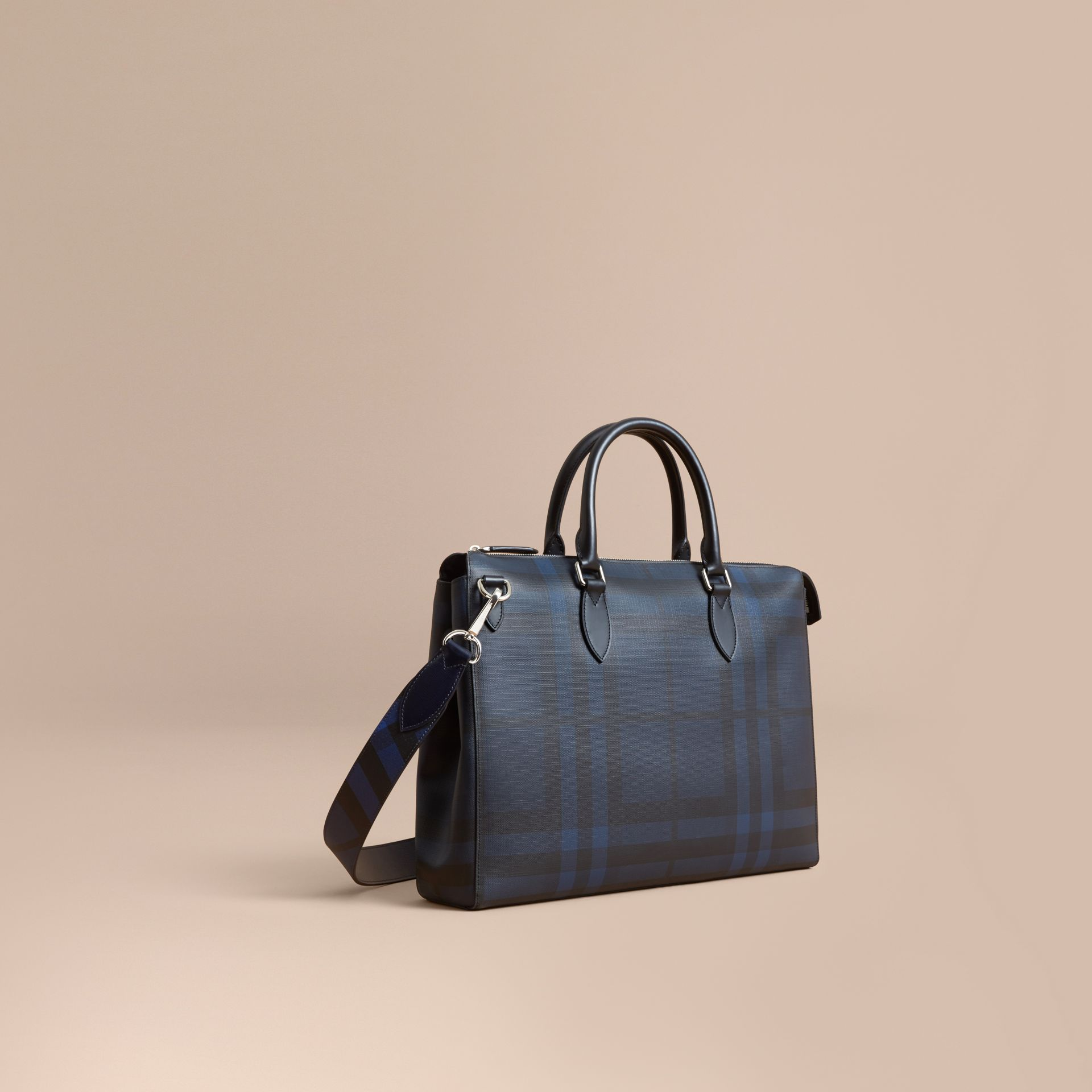 Large London Leather Briefcase in Dark Navy - Men | Burberry - gallery image 0