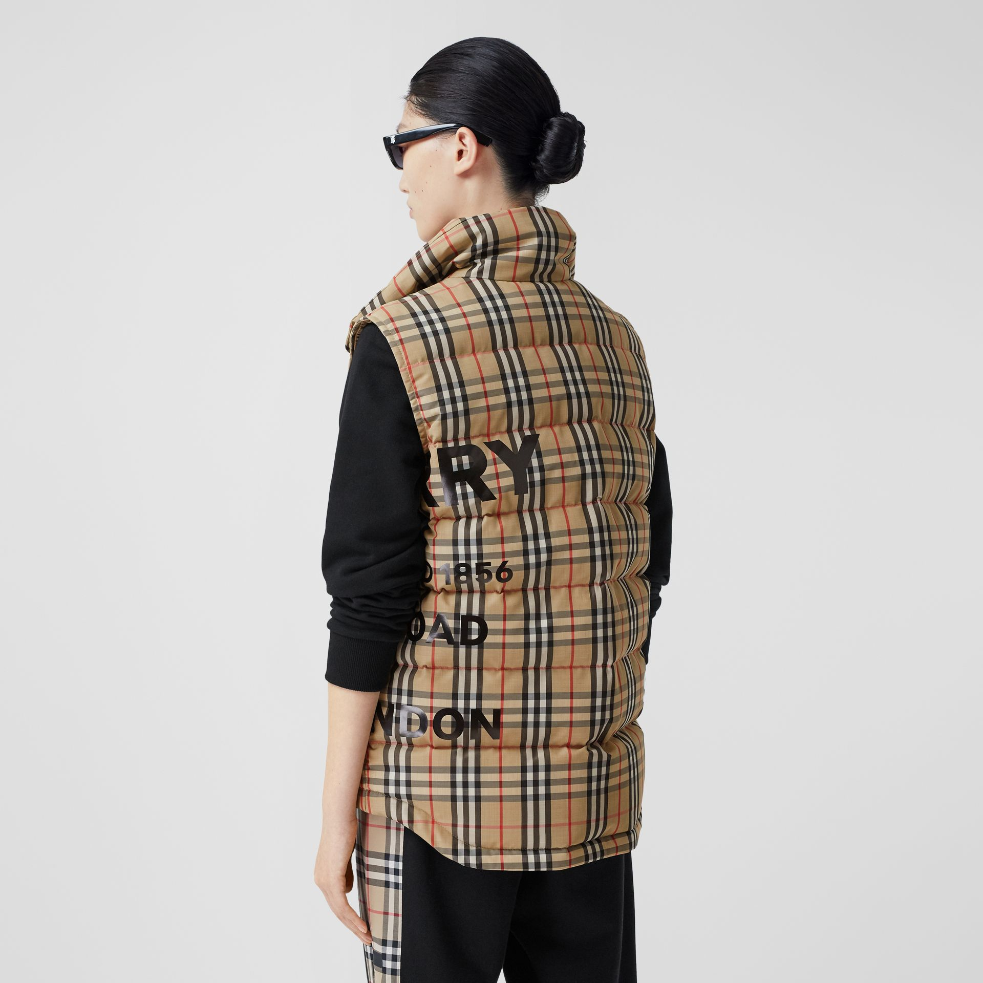 Horseferry Print Vintage Check Puffer Gilet in Archive Beige - Women | Burberry Singapore - gallery image 2