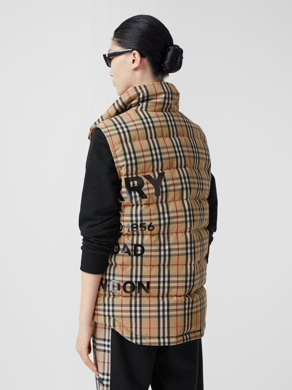 Horseferry Print Vintage Check Puffer Gilet in Archive Beige - Women | Burberry United Kingdom - cell image 2