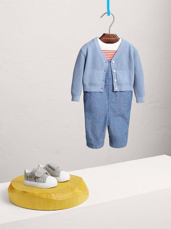 Multi-stitch Cotton Cardigan in Chalk Blue