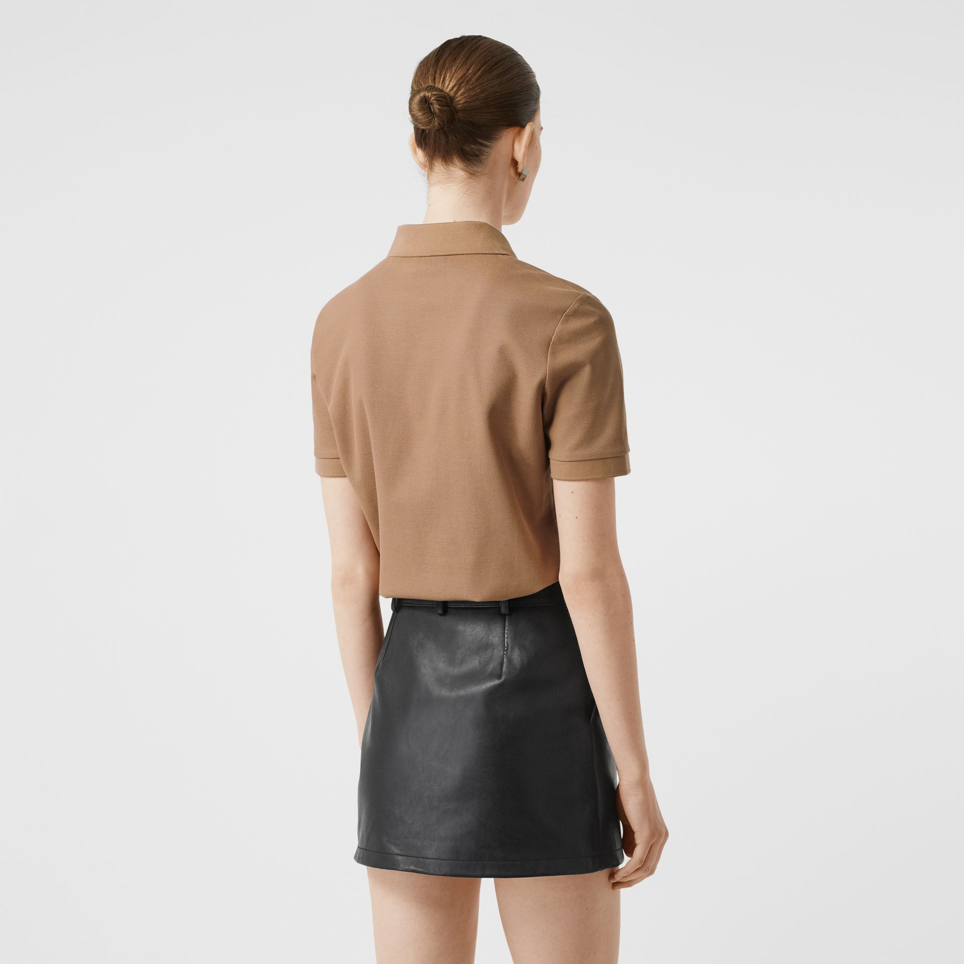 Monogram Motif Cotton Piqué Polo Shirt in Camel - Women | Burberry United States - gallery image 2