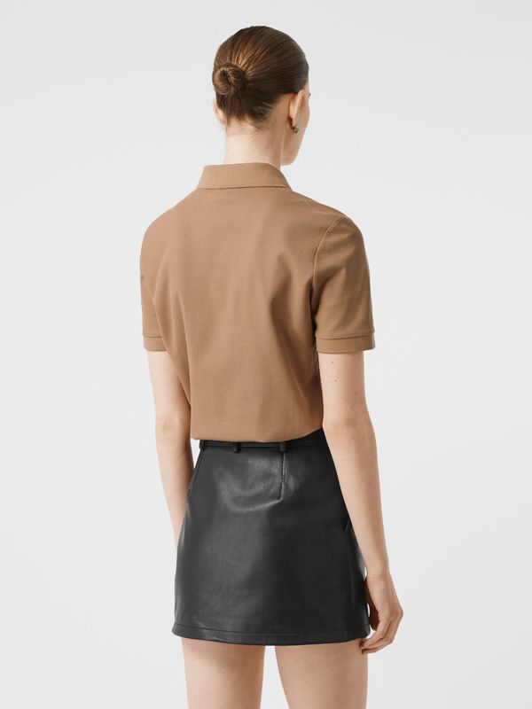 Monogram Motif Cotton Piqué Polo Shirt in Camel - Women | Burberry United Kingdom - cell image 2