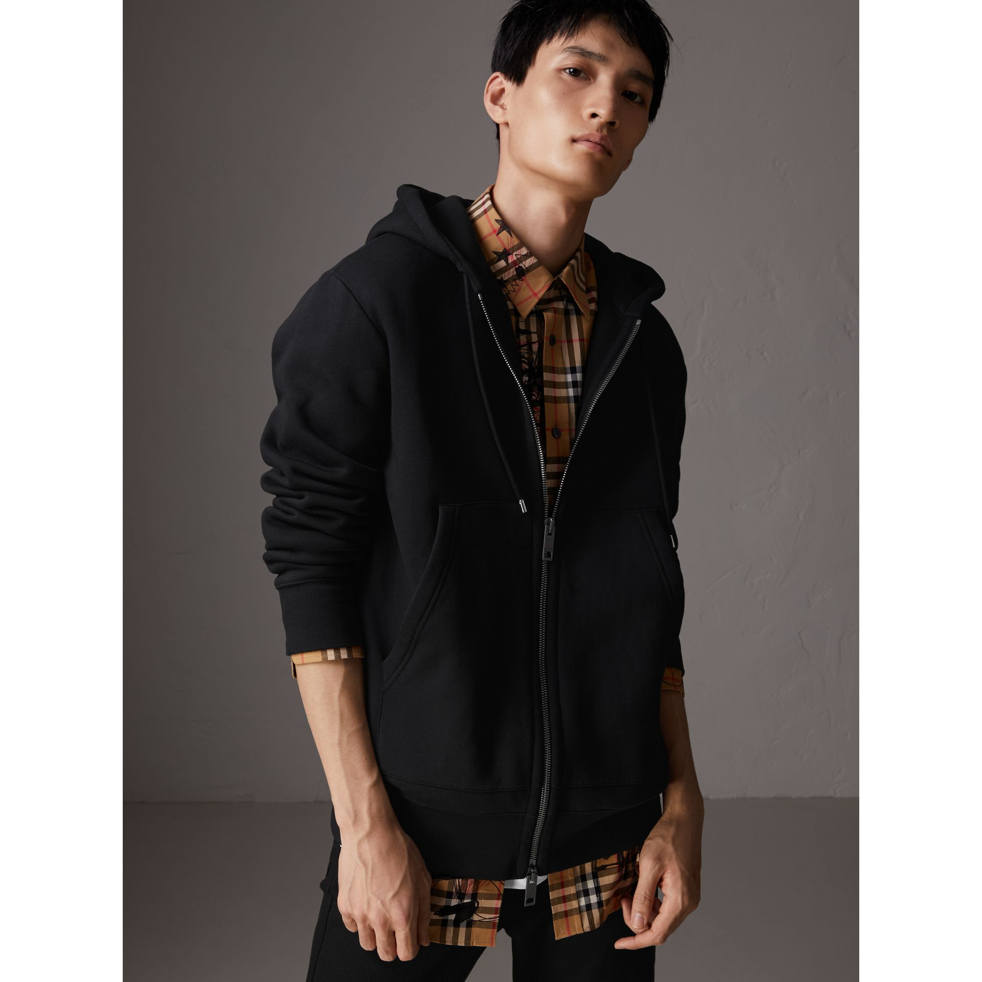 Embroidered Motif Oversize Hooded Cotton Jersey Top in Black - Men | Burberry - gallery image 4