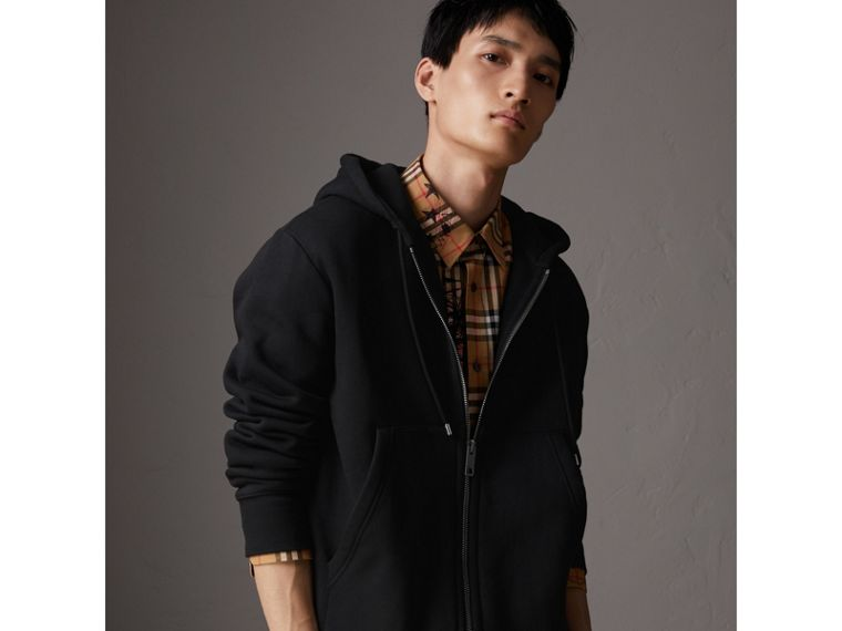 Embroidered Motif Oversize Hooded Cotton Jersey Top in Black - Men | Burberry - cell image 4