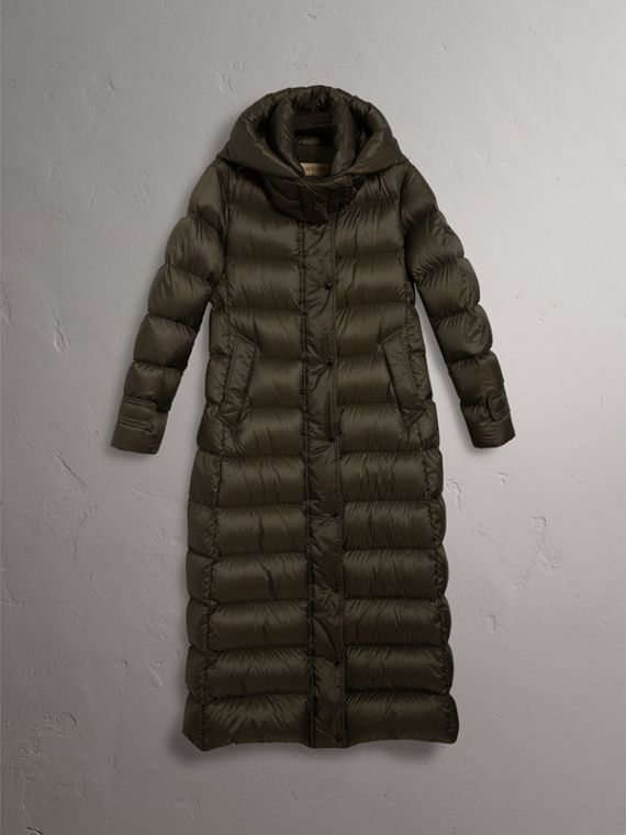 Detachable Hood Long Down-filled Puffer Coat in Olive - Women | Burberry - cell image 3