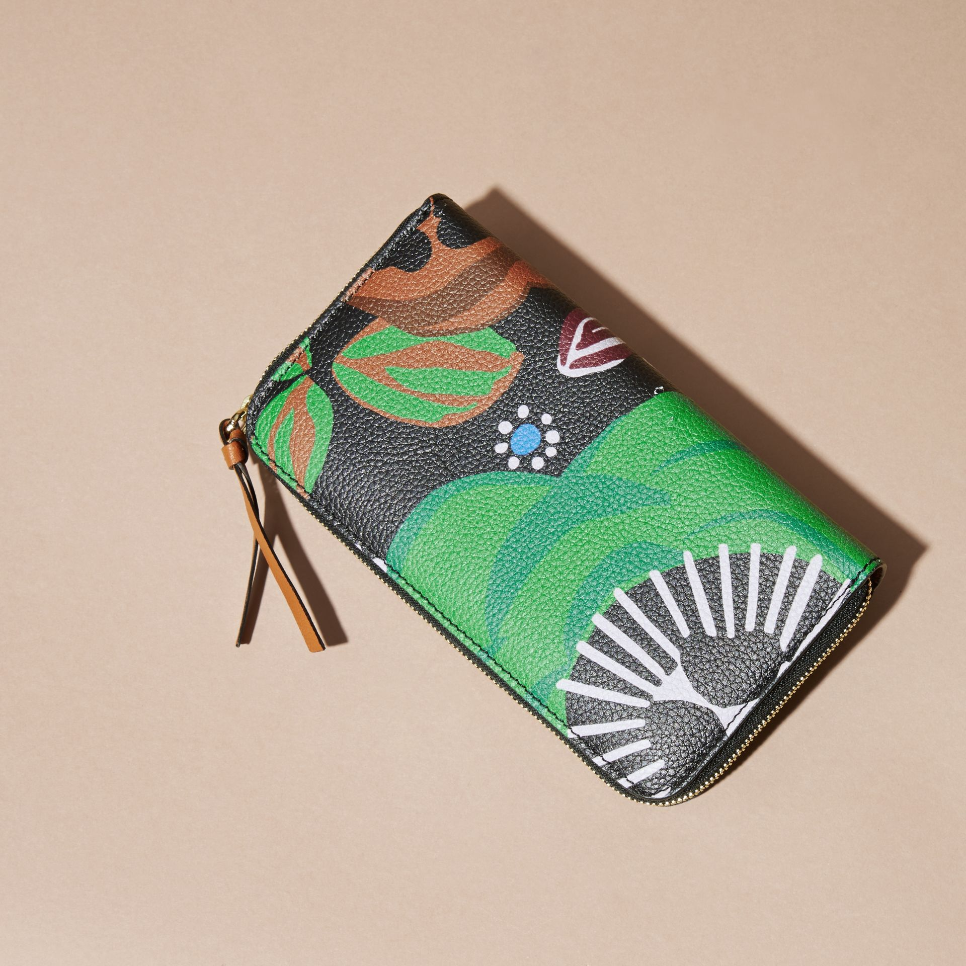 Navy Floral Print Grainy Leather Ziparound Wallet Navy - gallery image 4