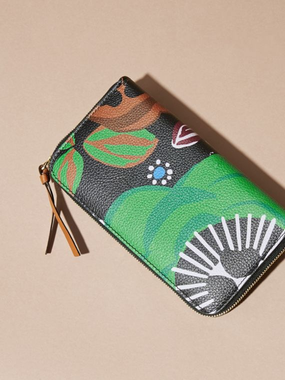 Navy Floral Print Grainy Leather Ziparound Wallet Navy - cell image 3