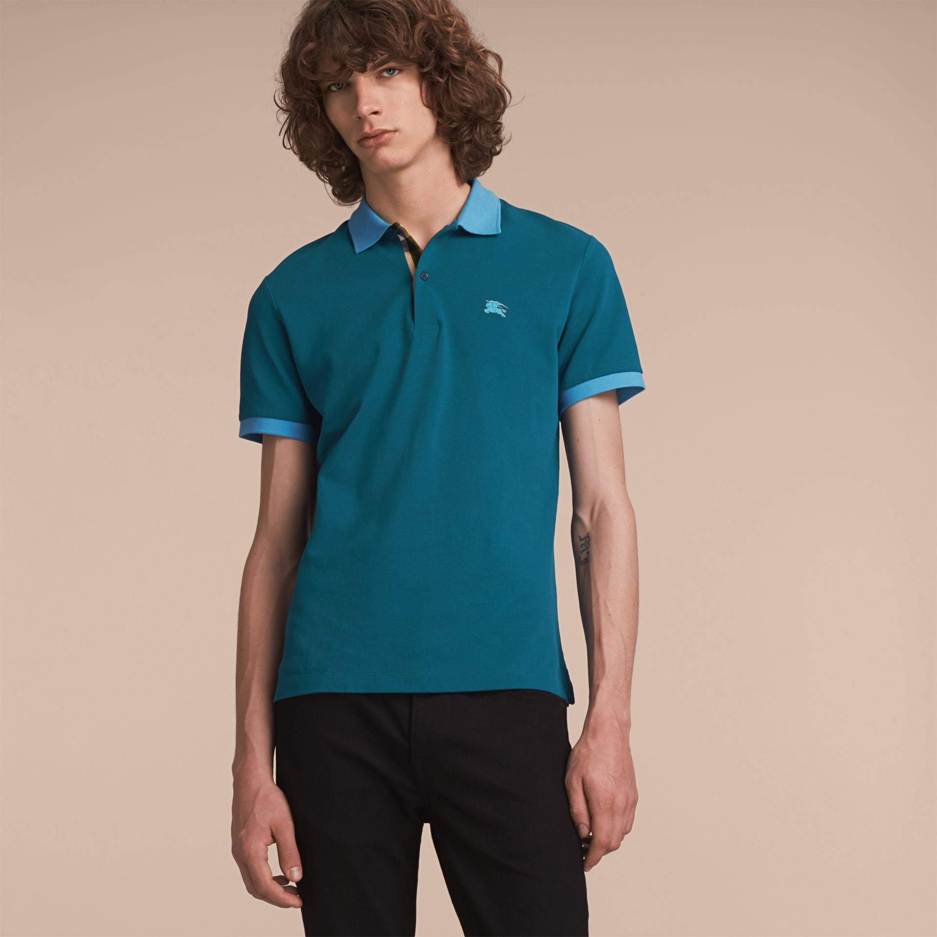 Two-tone Check Placket Cotton Piqué Polo Shirt in Mineral Blue - gallery image 6