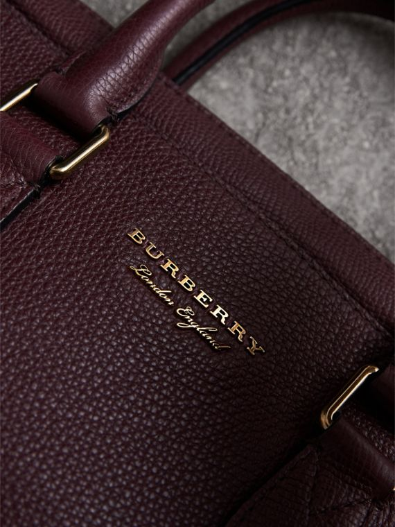 Leather and House Check Briefcase in Wine - Men | Burberry - cell image 2