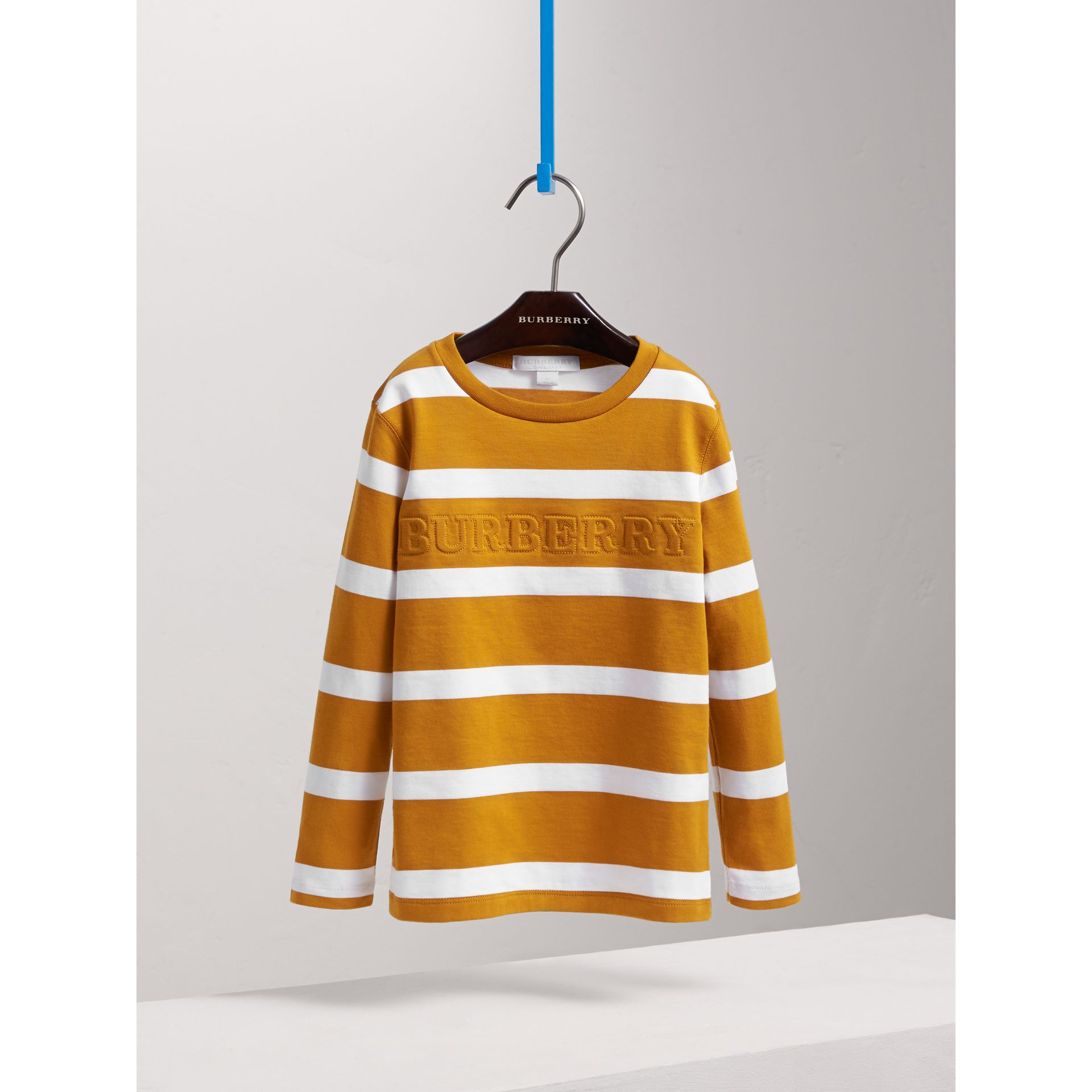 Long-sleeve Striped Cotton T-shirt in Ochre Yellow/white - Boy | Burberry - gallery image 3